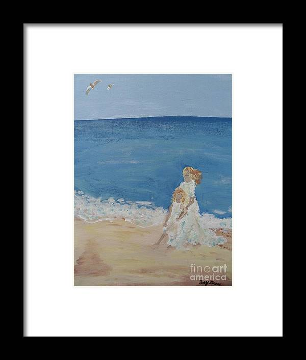Water Framed Print featuring the painting Brittany Loves The Beach by Bobbi Groves