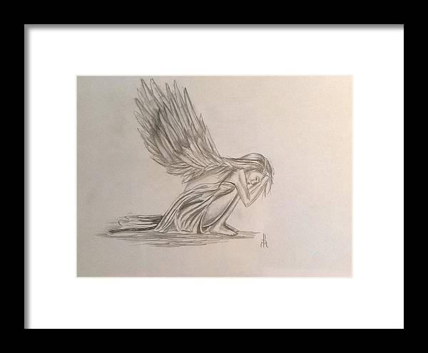 Angel Framed Print featuring the drawing Broken Angel by Shelby Rawlusyk