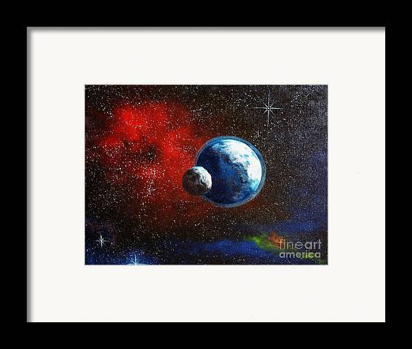 Astro Framed Print featuring the painting Broken Moon by Murphy Elliott