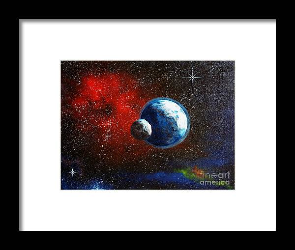 Astro Framed Print featuring the painting Broken Moon by Murphy Elliott