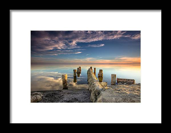 Salton Sea Framed Print featuring the photograph Broken Pier by Robert Aycock