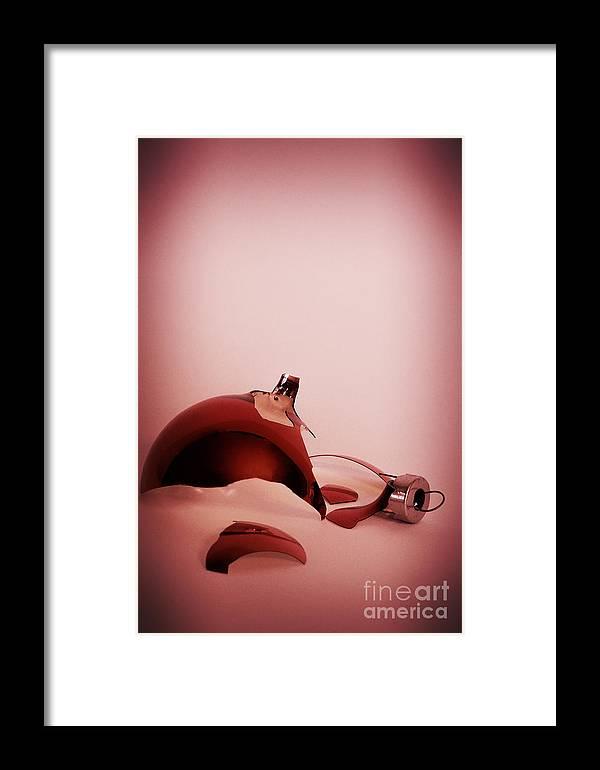 Broke Framed Print featuring the photograph Broken Red Ornament by Birgit Tyrrell