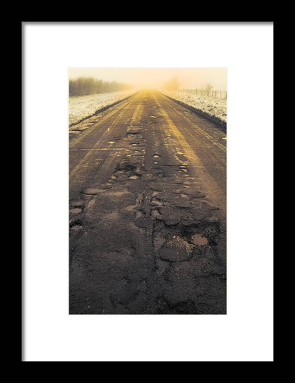 Cold Framed Print featuring the photograph Broken Road by Svetlana Sewell