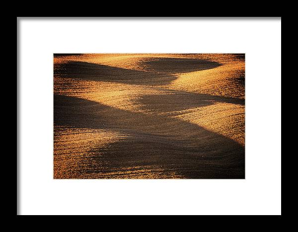 Tranquility Framed Print featuring the photograph Bronze Waves by Philipp Klinger