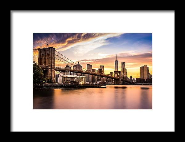 America Framed Print featuring the photograph Brooklyn Bridge at sunset by Mihai Andritoiu