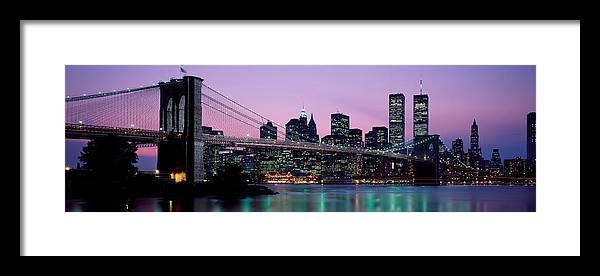 Photography Framed Print featuring the photograph Brooklyn Bridge New York Ny Usa by Panoramic Images