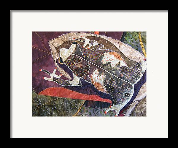 Tapestries Textiles Framed Print featuring the tapestry - textile Brown Forest Toad by Lynda K Boardman