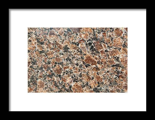 Grained Framed Print featuring the photograph Brown Red Granite by Jim Pruitt