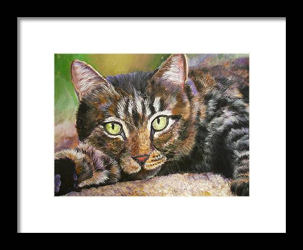 Cat Framed Print featuring the painting Brown Tabby Relaxing by Mary Jo Zorad