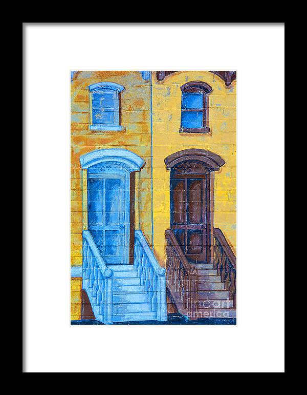 Brownstone Mural Framed Print featuring the photograph Brownstone Mural Art by Regina Geoghan