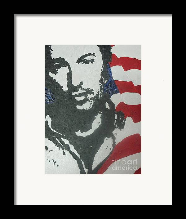 Rock N Roll Framed Print featuring the painting Bruce by Moira Ferguson
