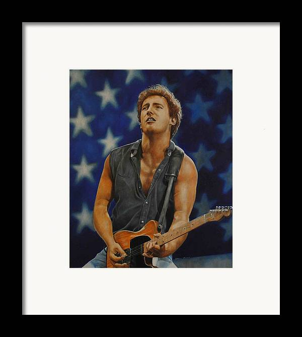Bruce Springsteen Framed Print featuring the painting Bruce Springsteen 'born In The Usa' by David Dunne