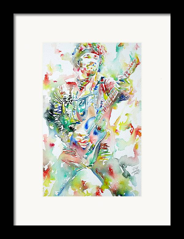 Bruce Framed Print featuring the painting Bruce Springsteen Playing The Guitar Watercolor Portrait by Fabrizio Cassetta