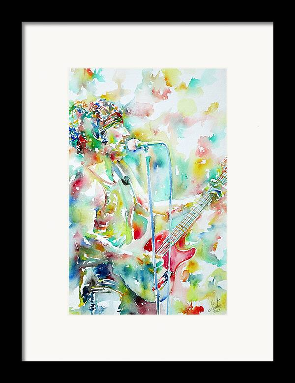 Bruce Framed Print featuring the painting Bruce Springsteen Playing The Guitar Watercolor Portrait.1 by Fabrizio Cassetta