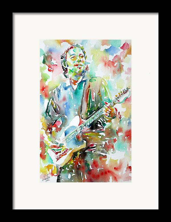 Bruce Framed Print featuring the painting Bruce Springsteen Playing The Guitar Watercolor Portrait.3 by Fabrizio Cassetta