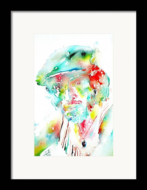 Bruce Framed Print featuring the painting Bruce Springsteen Watercolor Portrait by Fabrizio Cassetta