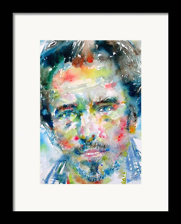 Bruce Framed Print featuring the painting Bruce Springsteen Watercolor Portrait.1 by Fabrizio Cassetta