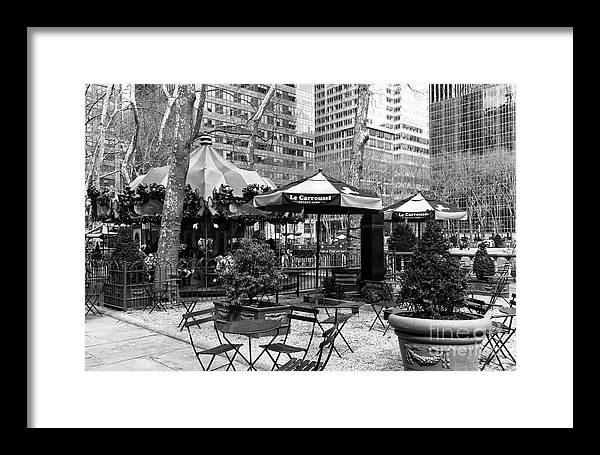 Bryant Park Table Framed Print featuring the photograph Bryant Park Tables Mono by John Rizzuto