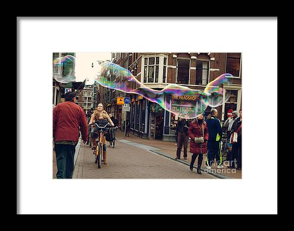 Amsterdam Framed Print featuring the photograph Bubble Performance by Sarka Olehlova