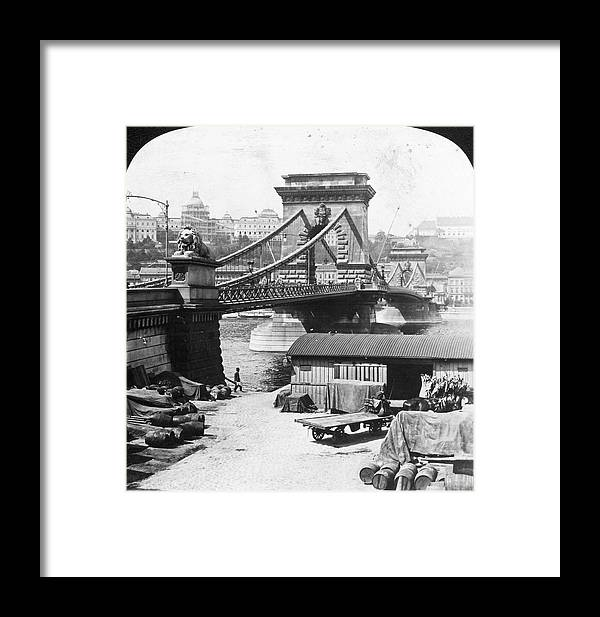1908 Framed Print featuring the photograph Budapest Bridge, 1908 by Granger