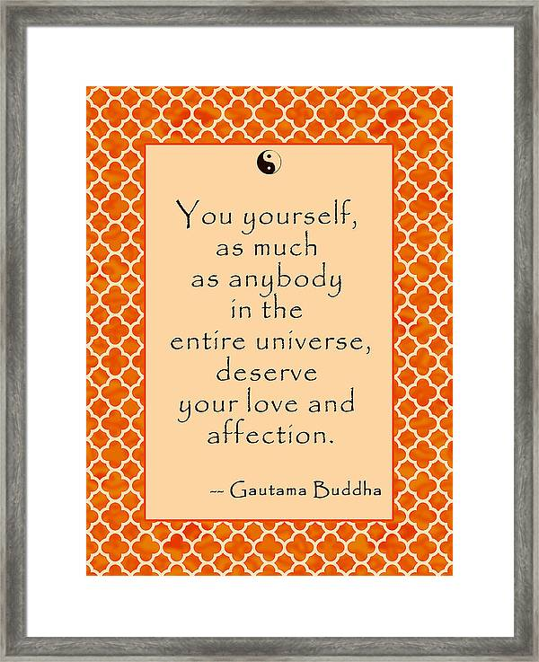 Buddha Quote Love And Affection Framed Print By Scarebaby Design