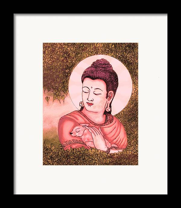 Buddha Framed Print featuring the glass art Buddha Red by Loganathan E
