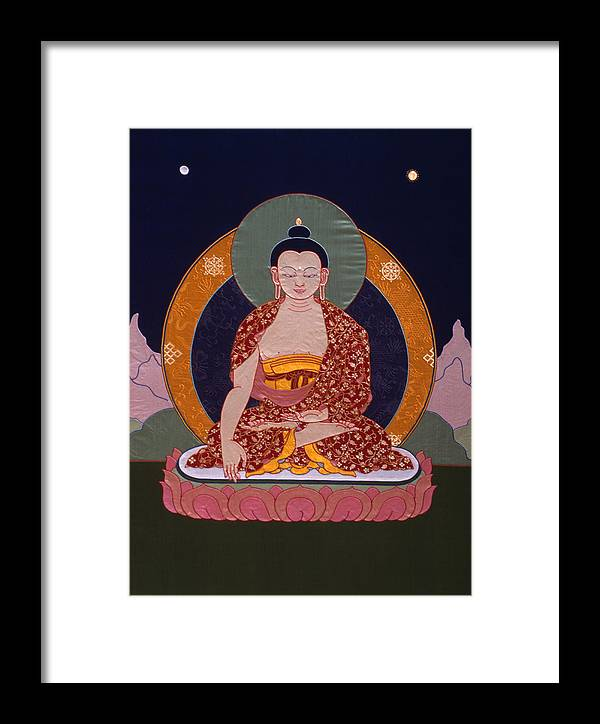 Buddha Framed Print featuring the tapestry - textile Buddha Shakyamuni by Leslie Rinchen-Wongmo
