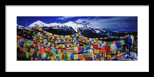 Chinese Culture Framed Print featuring the photograph Buddhist Prayer Flags With Meili by Richard I'anson
