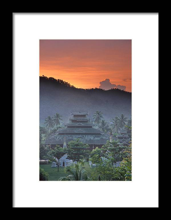 Buddhist Framed Print featuring the photograph Buddhist Temple At Sunset by Richard Berry
