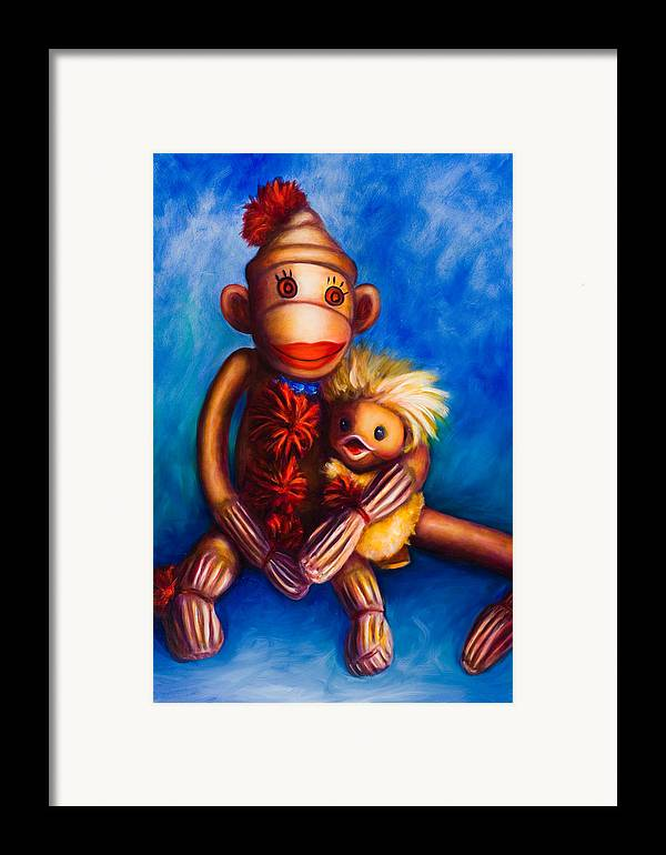 Sock Monkeys Brown Framed Print featuring the painting Buddies by Shannon Grissom