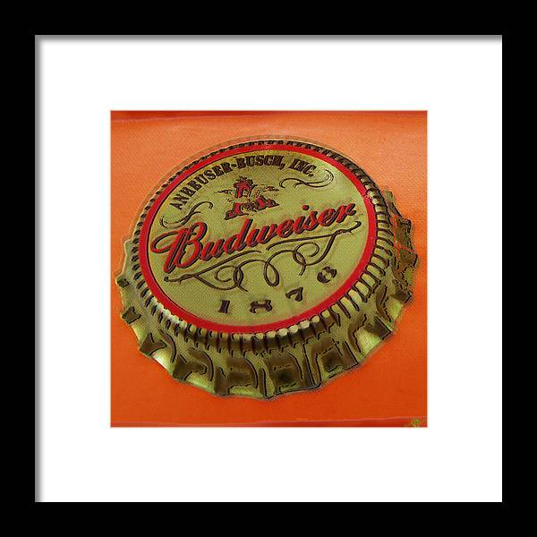 Budweiser Framed Print featuring the painting Budweiser Cap by Tony Rubino
