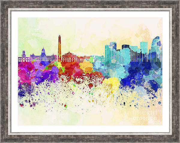 Buenos Aires skyline in watercolor background by Pablo Romero