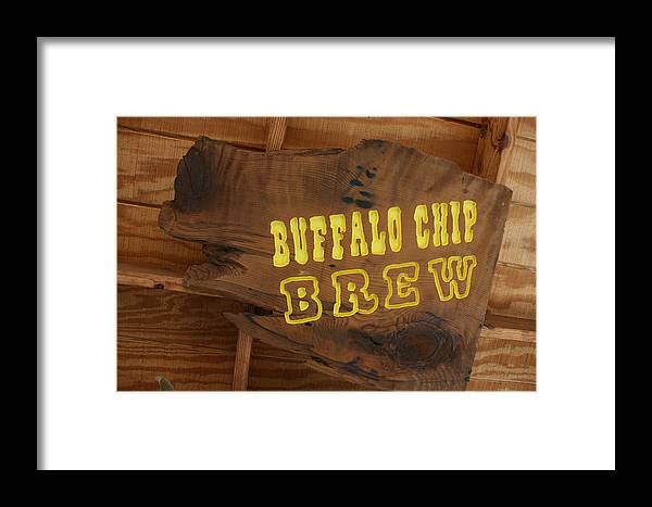 Running P Ranch Bar And Grill Framed Print featuring the photograph Buffalo Chip Brew Anyone by Marsha Ingrao