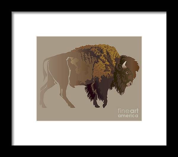 Game Framed Print featuring the digital art Buffalo. Hand-drawn Illustration by Imagewriter