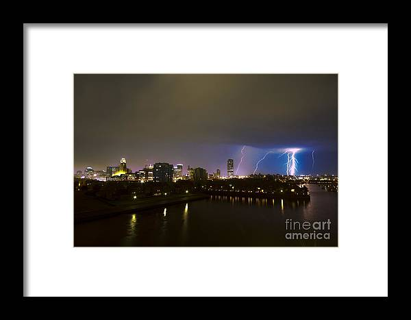 Buffalo Lightning Framed Print featuring the photograph Buffalo Lightning by Mark Baker