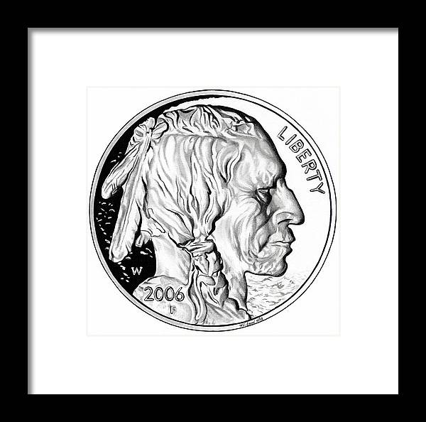 United States Mint Framed Print featuring the drawing Buffalo Nickel by Fred Larucci