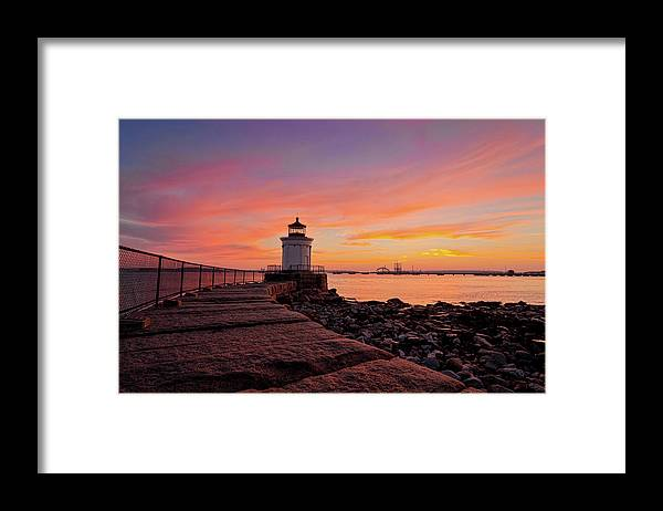Built Structure Framed Print featuring the photograph Bug Light Sunrise 1899 by Www.cfwphotography.com