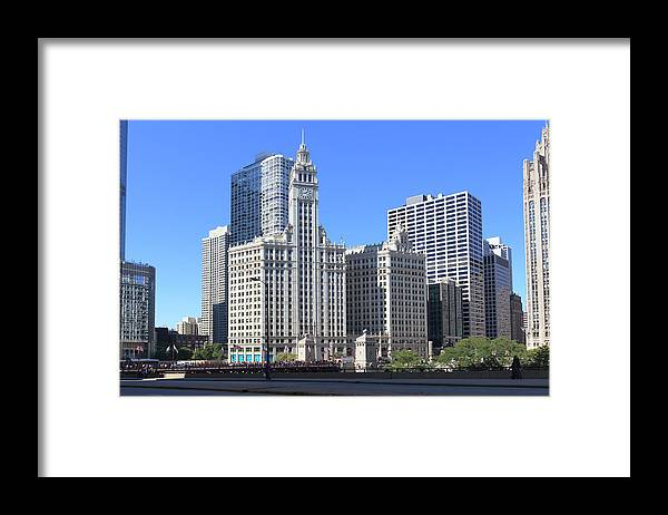 Chicago River Framed Print featuring the photograph Buildings By The Chicago River, Chicago by Fraser Hall