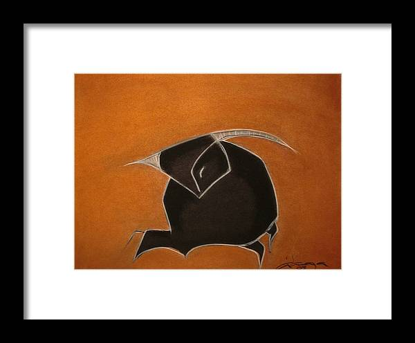 Charcoal Framed Print featuring the painting Bull Of Bulls by Dianaya Anaya