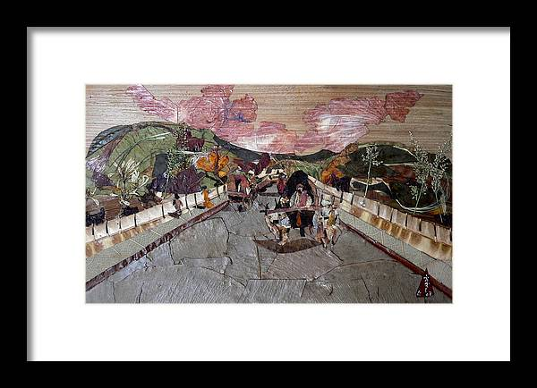 Bullock Cart Framed Print featuring the mixed media Bullock Cart On Bridge by Basant Soni