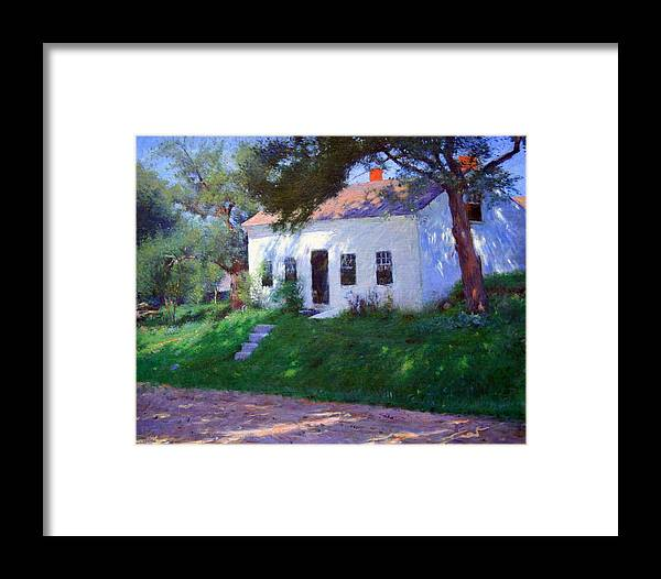 Roadside Cottage Framed Print featuring the photograph Bunker's Roadside Cottage by Cora Wandel