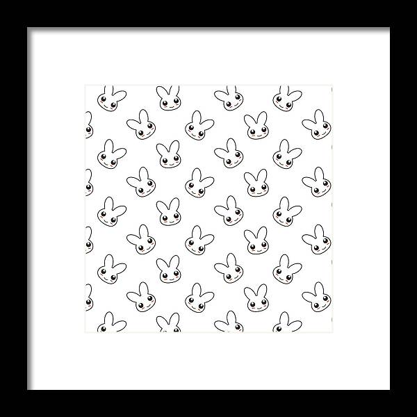 Bunny Pattern Framed Print By Doraclub