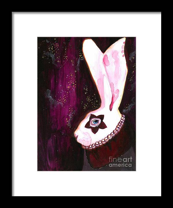 Bunny Framed Print featuring the painting Bunny Rebellion by Miss M von Baron