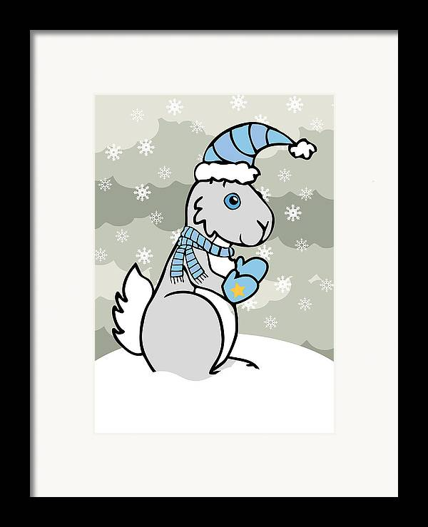 Bunny Framed Print featuring the digital art Bunny Winter by Christy Beckwith