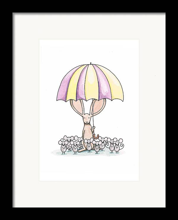 Bunny Framed Print featuring the painting Bunny With Umbrella by Christy Beckwith