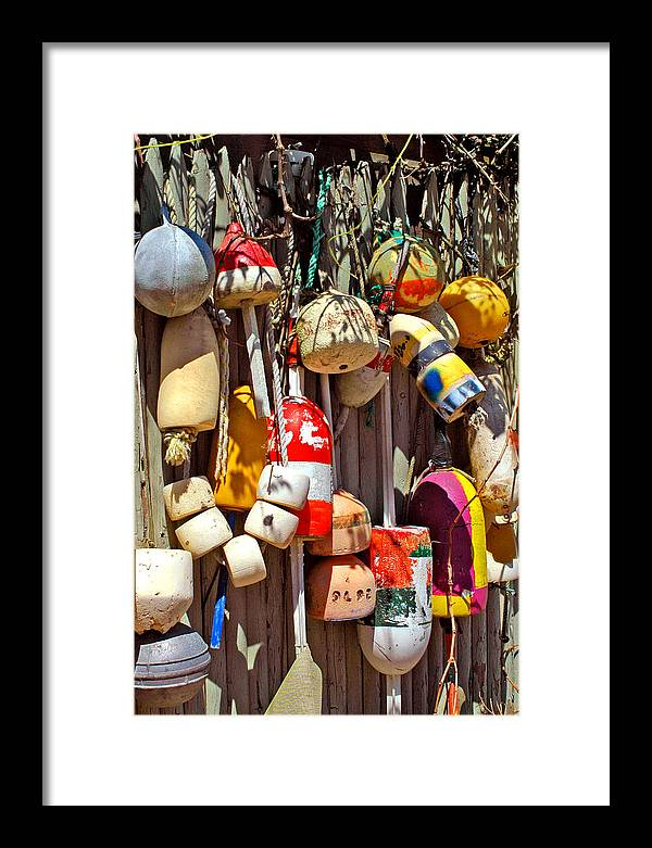 Fishing Framed Print featuring the photograph Buoys by Joann Vitali