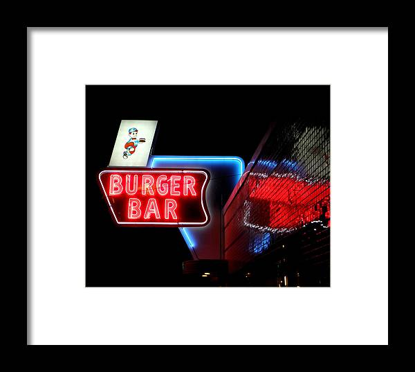 Bristol Framed Print featuring the photograph Burger Bar Neon Diner Sign At Night by Denise Beverly