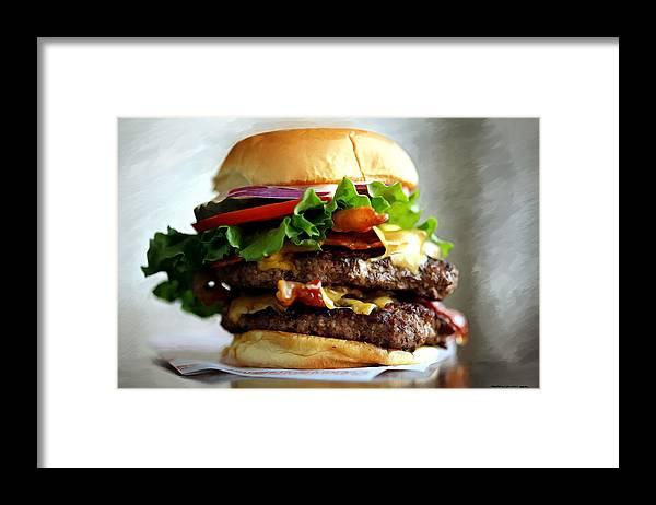 Bacon Framed Print featuring the digital art Burger - Fast food Serie by Gabriel T Toro
