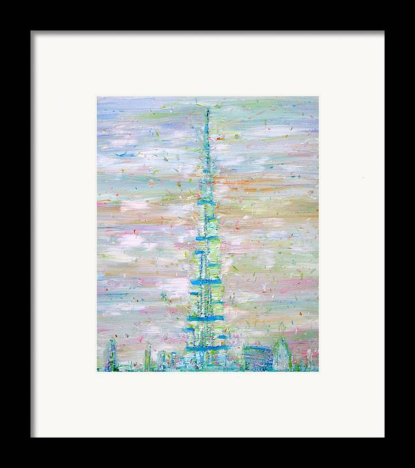 Burj Framed Print featuring the painting Burj Khalifa - Dubai by Fabrizio Cassetta