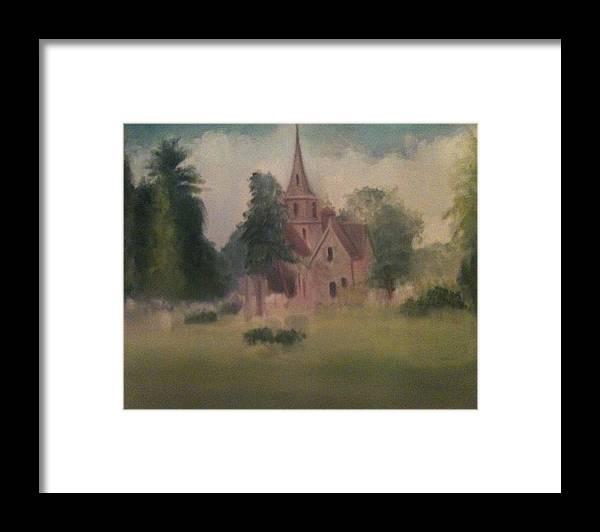 Church Framed Print featuring the painting Burlington NJ Church by Sheila Mashaw